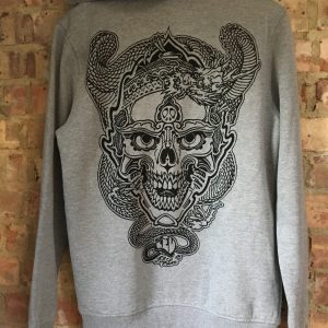 Skull and Dragon grey Hoody
