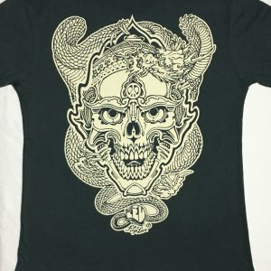 Skull and Dragon discharge print tee
