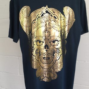 Skull and Dragon gold bling tee
