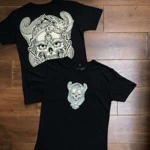 Black Skull and Dragon Discharge print tee